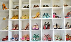Looking for shoe storage ideas? Check out ShoeperWoman's shoe shelves, providing storage for dozens of shoes in her own custom shoe room. Shoe Storage Shelf, Shoe Shelves, Shoe Room, Shoe Wall, Shoe Display, Display Ideas, Baskets, Espadrilles, Glam Room