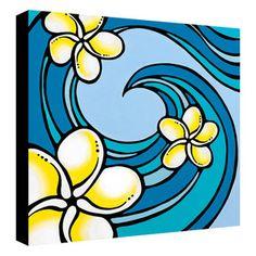 Plumeria Wave- 18x18 Giclee on Canvas