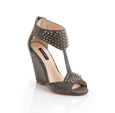 Studded suede wedge