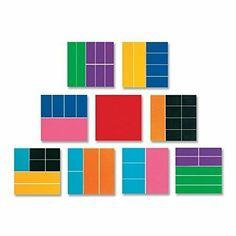 Foam ETA Hand2Mind Rainbow Fraction Tiles Math Manipulative Homeschool Set of 51