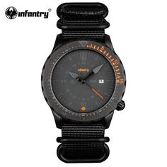 Mens Infantry Style Wristwatch - Black Nylon Band - 30M Waterproof #menswatch #watches #dualdisplay #outdoors #climbing #military