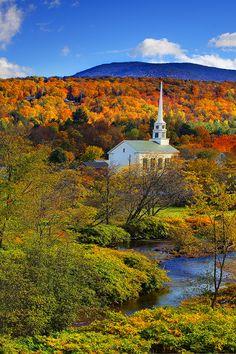 Stowe, Vermont church in Autumn - beautiful