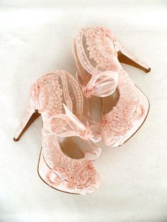 Blush Embroidered Lace Bridal Shoes with ribbons - Romantic Pink Bridesmaids Shoes -  by KUKLAfashiondesign