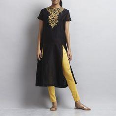 Black Front Slit Chanderi Kurti with Gold Aari Zari Embroidered Neckline by Sonal Kabra Salwar Kameez, Kurti, Kurta Designs Women, Indian Fashion, Short Sleeve Dresses, Neckline, Plus Size, Style Inspiration, Shirt Dress