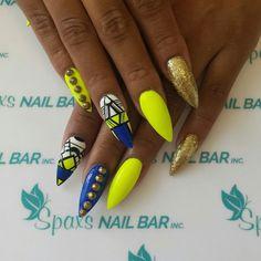 Stellito Neon yellow and blue nails at SpaxsNailBar