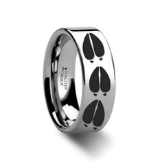 $210 Animal Deer Track Print Ring, Tungsten Band www.ringsparadise.com