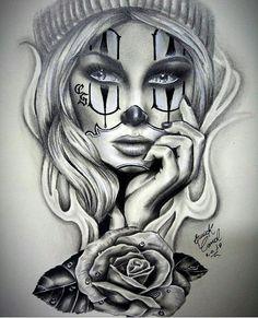 Clown girl by Body Art Tattoos, Badass Drawings, Clown Tattoo, Lowrider Art, Tattoo Images, Chicano Art Tattoos, Chicano Tattoos, Tattoo Designs, Diy Tattoo