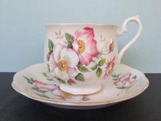Royal Albert Pink Wild Rose Tea Cup Saucer/ by FlashbackFinds