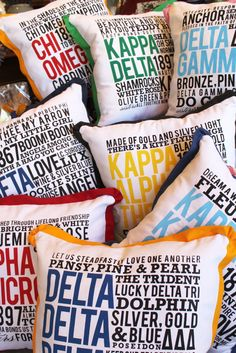 Catherine Ann Herrington Art: Rebel Rush - Sorority Pillows. Thought of you Connie and Sarah