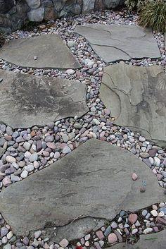 Outdoor Walkway 88 – decoratoo - front yard landscaping ideas with rocks Rock Walkway, River Rock Landscaping, Outdoor Walkway, Landscaping With Rocks, Front Yard Landscaping, Landscaping Ideas, Walkway Ideas, Patio Ideas, Paver Walkway
