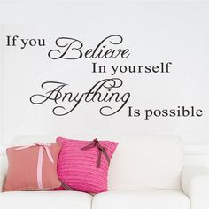 Believe In Yourself Wall Quote Decal //Price: $ 9.95 & FREE shipping //  #interiordesign #interior #walldecal #wallsticker #wallstickermurah #decor #walldecor #walldecals #homedecor #wallart #design #decor #wallstargraphics
