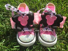Minnie Mouse Inspired Shoes - Minnie Mouse Birthday - PRINCESS MINNIE - Minnie  Party - Crystals - Sparkle Toes - Pink Converse - Sizes 2-13