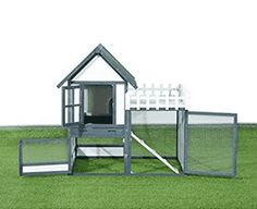 Give your chickens or other small animals the freedom and comfort they crave plus the safety and security they need with a Pawhut Wooden Chicken Coop/Rabbit Hutch with Outdoor Run. This coop/hut. Cheap Chicken Coops, Chicken Coop Decor, Diy Chicken Coop Plans, Portable Chicken Coop, Chicken Cages, Chicken Coop Designs, Building A Chicken Coop, Indoor Rabbit House, Rabbit Hutch Indoor