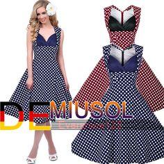 Damen 50er Rockabilly Polka Dots Petticoat Partykleid Ballkleid Kleider 3194