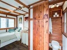 The bathroom boasts a toilet and standup shower, so if you lived here, you'd have to wave goodbye to bubble baths.