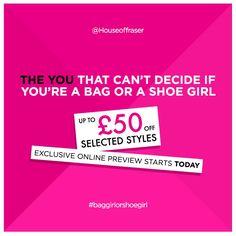 When the sky is grey, turn to handbags and heels... Sale on now! #houseoffraser #sale #handbagsandheels