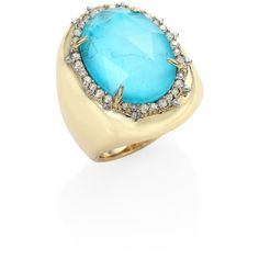 Alexis Bittar Elements Turquoise & Crystal Ring ($137) ❤ liked on Polyvore featuring jewelry, rings, spike ring, swarovski crystal jewelry, green turquoise ring, blue turquoise ring and spikes jewelry