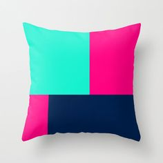 Color Block Throw Pillow Mint Hot Pink Navy Blue by HLBhomedesigns