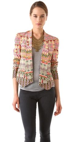 Rebecca Minkoff - Becky Printed Jacket (in Chelsea Ikat Multi) Passion For Fashion, Love Fashion, Womens Fashion, Rebecca Minkoff, Blazers, Estilo Hippy, Printed Blazer, Ikat Print, Print Jacket
