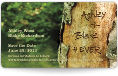 My selected choice for wedding invites ... Simple and appropriate for our camping wedding