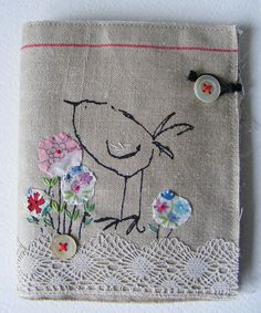 Handmade NEEDLE CASE Screen printed Birdy on French by hensteeth   item has sold