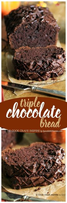 Triple Chocolate Bread! A rich chocolatey quick bread with a secret ingredient to keep it extra moist! This loaf contains dessert and breakfast all in one!: