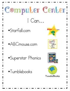 "These are awesome literacy sites for kids! Literacy Center ""I Can"" Cards"