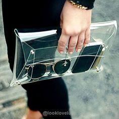 Transparent PVC Envelope Clutch Handbag -  - Accessories, Look Love Lust
