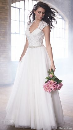 MADISON JAMES fall 2015 #bridal lace queens anne cap sleeves v neckline lace embroidered bodice beautiful a  line #wedding dress style mj172