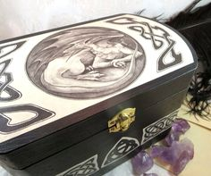 Dragon Wooden Box with Celtic Knots - Medieval Wedding Card and Storage