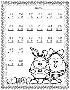 Easter Double Digit Multiplication With Regrouping, Two Digit Multiplication Two Digit Multiplication, Math Multiplication Worksheets, Printable Math Worksheets, Multiplication Problems, Math Resources, Math Activities, Math Drills, Math Sheets, Reading Comprehension Worksheets