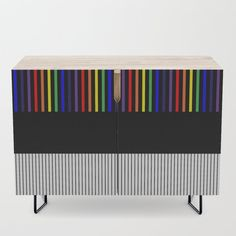 Colour Pop Stripes - Rainbow Credenza by laec Black Pillows, Colour Pop, Office Cabinets, Walnut Finish, Decoration, Credenza, Cleaning Wipes, Kids Room, Room Ideas