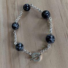 Sterling Silver Snowflake Obsidian Bracelet