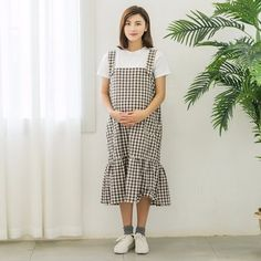 5fa9969ee11 Formal pure color summer korean style tiered plaid long dress maternity