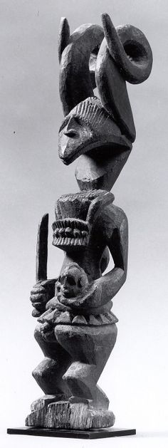Ikenga (shrine figure). Ibgo peoples (Nigeria). c. 19th to 20th century C.E. Wood. Not the same figure as in the image set,.