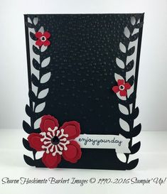 handmade card ...Blooms in black and white with pops of red ... luv how she curved the front with opposing die cut vines ... Stampin' Up!
