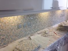 Stunning blue, white and green marble mosaic for kitchen back splash