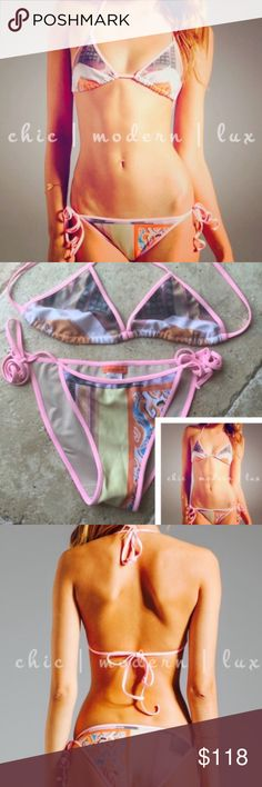 Clover Canyon Bikini Canyon Clover 2pc. 2pc suit. Top and bottom both Med size. Vendor runs small.  Please ask questions if interested to purchase....Nothing says summer like fresh coconuts, sandy beaches & palm trees...  NOW!!! HOT HOT HOT   🍃Prices high to save on shipping fees...please offer  Open to offers Clover Canyon Swim Bikinis