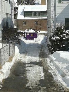 One of our purple dumpster rentals snowed in at a job site in Waterbury.