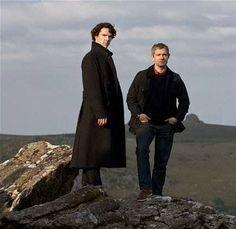 Benedict Cumberbatch and Martin Freeman on location in Dartmoor...