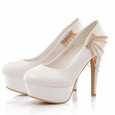 White Charming Metal Chains Ornament Woman's Platform Pumps