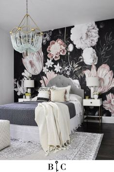 Love this floral wallpaper, would you add such a bold accent wall to your bedroom? ----------------------------------------- Floral Wallpaper Bedroom Idea #Homedecor #bedroomideas |HomesbyBri |