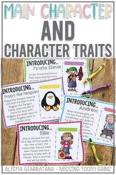 Teach your students all about main character and character traits with these fun worksheets and activities! These lessons and ideas are perfect for first grade students. Click the pic to see the activities included! Reading Resources, Reading Skills, Teaching Reading, Classroom Resources, Character Trait, Main Character, Guided Reading Level Chart, Fun Worksheets, Struggling Readers