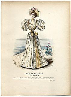 L'Art et la Mode 1894 N°28 Marie de Solar, hand colored fashion plate