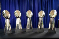 The Super Bowl trophies make their appearance at the draft party