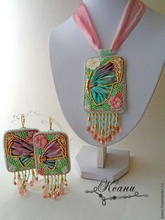 """Купить Комплект """"Бабочка. Миниатюра"""" кулон + серьги - золотой, зелёный, розовый, лиловый, бирюзовый"""