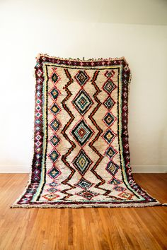 vintage moroccan berber carpet from the azilal or boucherite region