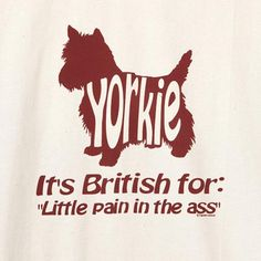 YORKIE - BRITISH FOR ... T-SHIRT at What on Earth   CH0022T