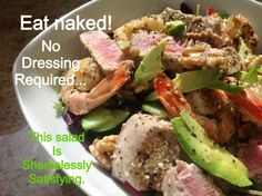 Eat Naked Seafood Salad - No Dressing Required.   Gorgeous healthy real food .. None of that photoshop shit!!!!  Follow our blog at: http://filf-food.tumblr.com