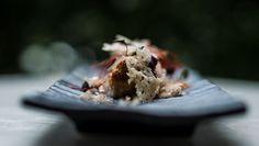 Duck cannelloni, shiso chlorophyll and bechamel sauce. Bechamel Sauce, Menu, Desserts, Food, Menu Board Design, Tailgate Desserts, Deserts, Essen, Postres